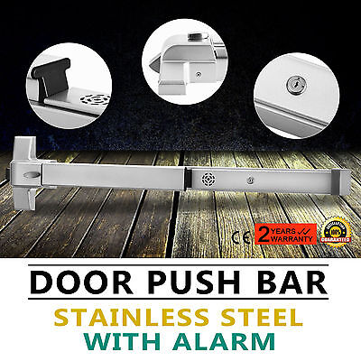 Door Push Bar Exit Lock w/ Alarm rounded sturdy panic exit convenient hardware