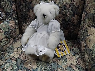 """Vermont Teddy Bear Off White, With Dress Special Occasion White Dress & Bow 15"""""""