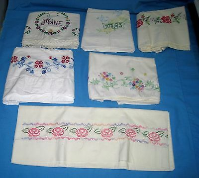 VTG Lot 6 SINGLE EMBROIDERED PILLOW CASES Pink Flora/Mine/Mrs Use or Craft!