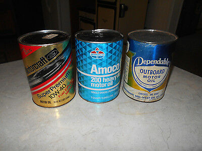 3 Vtg Dependable Outboard, Amoco 200 H.D, Motorcraft S.P 10w-40  Motor Oil Cans