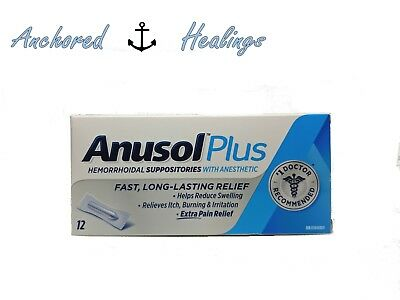 Anusol Plus Extra Relief Anesthetic Hemorrhoid 12 Suppositories Exp. 02/2019