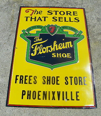 Florsheim Shoe Store Sign 1930S Tin Embossed Phoenixville Pa
