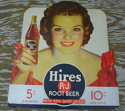 Hires Rj Root Beer Large Die Cut Cardboard With Girl Wow!!