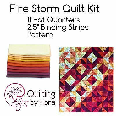 "Fire Storm Quilt Kit, Yellow, Red, 40"" x 48"", Fat Quarter Bundle, Pattern"