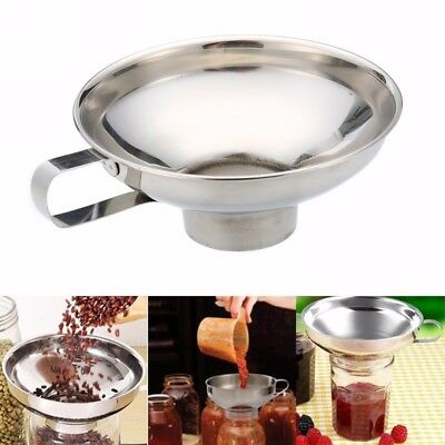 New Stainless Steel Wide Mouth Canning Funnel Cup Hopper Filter Kitchen Tools