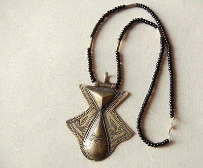 Vintage African Tuareg Tribal Necklace With Etched Silver Amulet Pendant