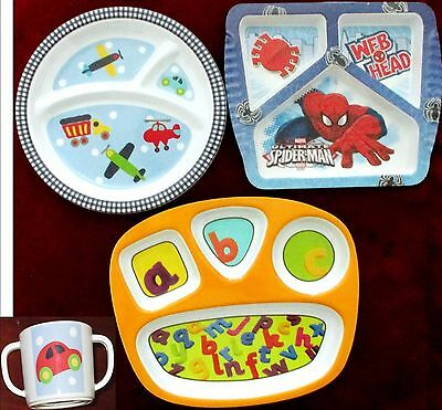 3 Baby Kids Plates Divided 3 Compartments Circo Zak! Spider Man Vehicles ABCs