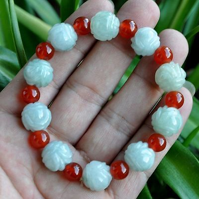 Green Red 100% Natural A JADE JADEITE Bead Beads Bangle Bracelet