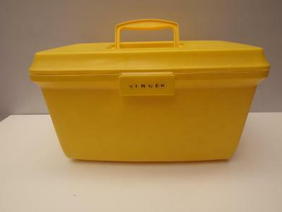 Vintage RETRO Yellow SINGER Sewing CRAFT Box with CLEAR Tray Adelaide