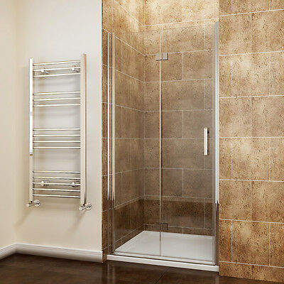 Frameless Hinged Bifold Shower Door Enclosure And Tray Free Waste Glass Screen