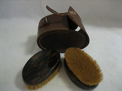 Pair of English Mens Grooming Brushes in Leather Case