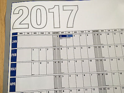 2017 Laminated Year/Wall Planner Calendar in Tube New