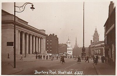 Barkers Pool, Sheffield, Real photo, old postcard, unposted
