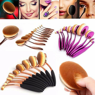 US NEW 10Pcs Elite Oval Toothbrush Makeup Brush Set Foundation Brushes Tool Gold