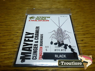 Flymen Tungsten Nymph Head Mayfly Clinger Black Small - New Fly Tying Materials