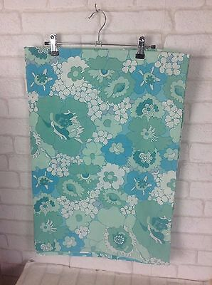 Vintage 1960 Blue and Green Floral Flower Pattern Cotton Material Fabric