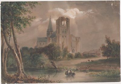 Dessin XIXe, Drawing 19th, Paysage, Ruines, Aquarelle