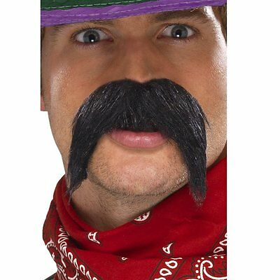 Mexican Moustache Gringo Big Bushy Fancy Dress Tash Black Adults Men Carnival