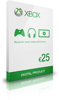€25 Microsoft XBOX Live /  One / 360  25 EUR gift / credit / top-up  by email
