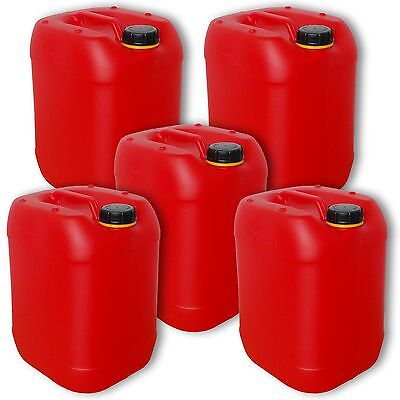 5 x 20 l  Wasserkanister rot, behälter,Kanister,Camping (5x22025)