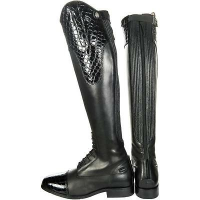 Hkm Ladies Quality Leather Croco Riding Boots Comes In Standard Or Short Height