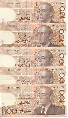 Morocco 100 Dirhams 1987  P 65. One Note. Vf Condition. 4Rw 02Gen