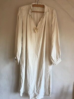 Antique French Chemise Smock/ Cotton & Linen Metis Cream Off White Night Shirt