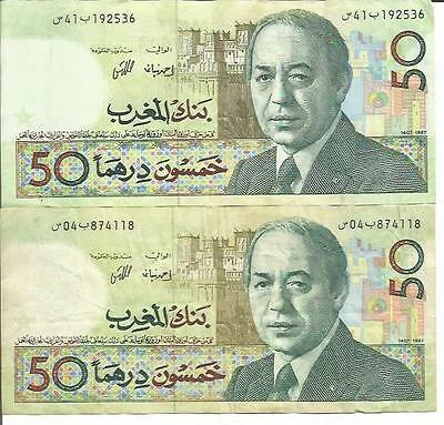 Morocco 50 Dirhams 1987  P 61. One Note. Vf Condition. 4Rw 02Gen