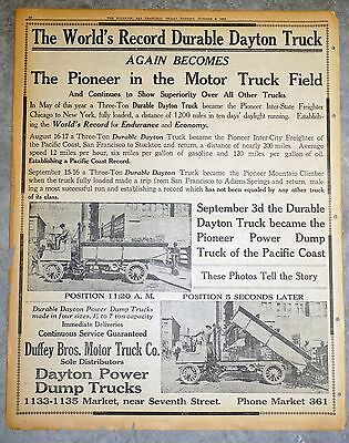 1911 Full Page Newspaper Ad - The World's Record Durable Dayton Truck