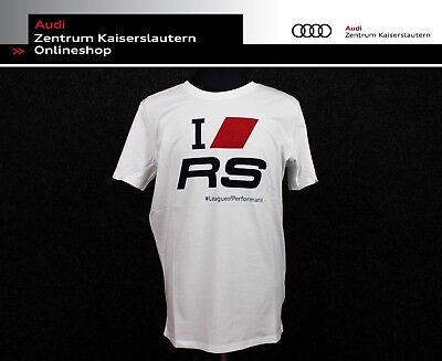 "Audi T-Shirt ""I love RS"" Fanshirt weiß 313160150 Herren Shirt RS"