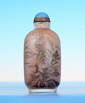 Old Antique Chinese Inside Painting Glass Snuff Bottle Signed Zhouleyuan Us012