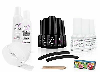 5x UV Nagellack günstig START SET mit Accessoire Nageldesign Nailstudio Maniküre