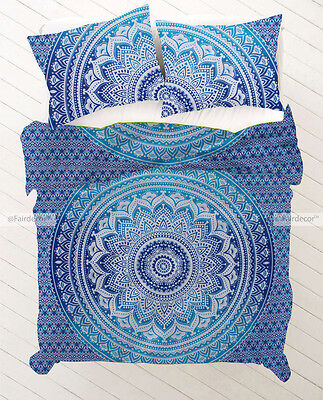 Blue and Sky Blue Ombre Boho Bohemian Hippie Duvet Quilt Cover With Pillowcases