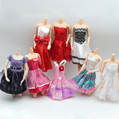 5 x bundle girls toy doll BARBIE dress party dresses costume outfits sets BC72