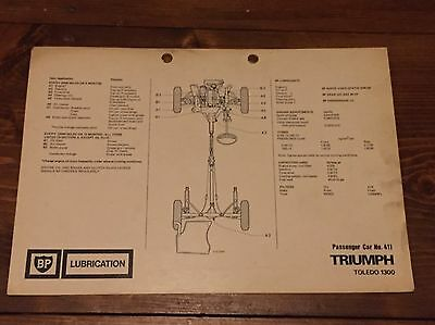 TRIUMPH TOLEDO 1300  BP lubrication chart. No.411 UK SELLER FREE POSTAGE