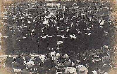 Crowd Gathering, Event, Presentation, Unknown, 3 x Real photo, old postcards