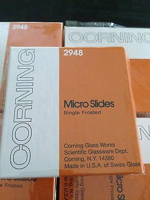 NEW Corning 2948 MICRO SLIDES PRE-CLEANED SINGLE FROSTED 75 X 25 X1mm.1/2 Gross