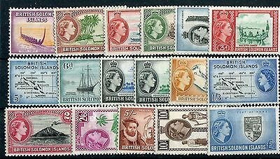 British Solomon Islands QEII 1956-63 set of 17 SG82/96 LMM