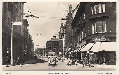 Westgate, Huddersfield, West Yorks, Real photo, old postcard, unposted