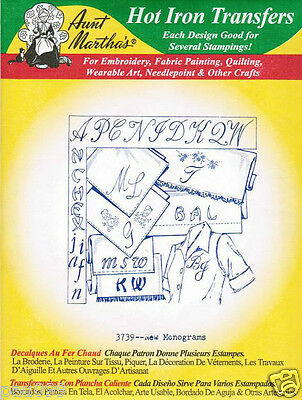 New Monograms #3739 Aunt Martha's Hot Iron Embroidery Transfer Pattern