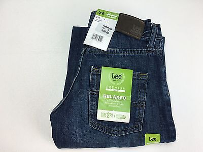 New Lee Boys Premium Select Relaxed Fit Straight Leg Denim Blue Jeans 8R Nwt