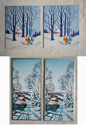 4 vintage Christmas Cards church in snowy winter landscape HALLMARK