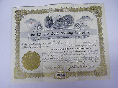 Vintage 1901 Stock Certificate #230 - The Wizard Gold Mining Company