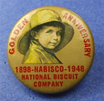 VTG Cello Pinback Button NABISCO GOLDEN ANNIV. 1898-1948 32mm pin ME1167