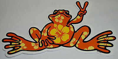 "NEW PEACE FROGS  ORANGE HIBISCUS STICKER  6"" x 3"""