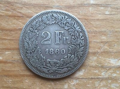 1860 Swiss silver 2 Franc @@ must see @@
