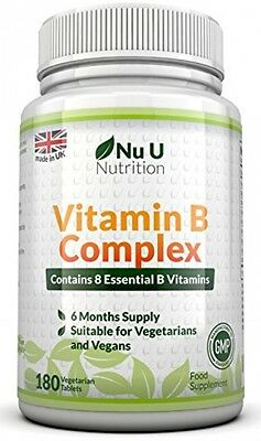 Vitamin B Complex 180 Tablets (6 Month Supply) - Contains All Eight B Vitamins