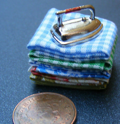 1:12 Scale Pile Of  Laundry & Iron Dolls House Miniature Kitchen Accessory