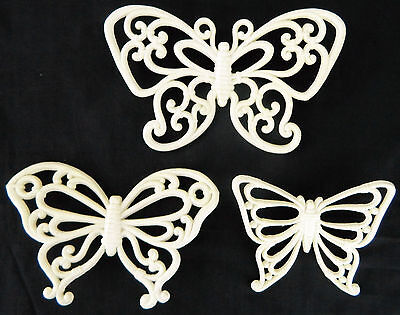 Set Of 3 HOMCO #7537 White Butterfly Wall Plaques Vtg Butterflies Accents Lot