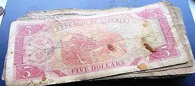 Lot (40) 1999-2008 Bank of Liberia 5 Dollars Banknotes Rice Harvest Well Circ